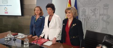 Foto durante la rueda de prensa del Consejo de Ministros