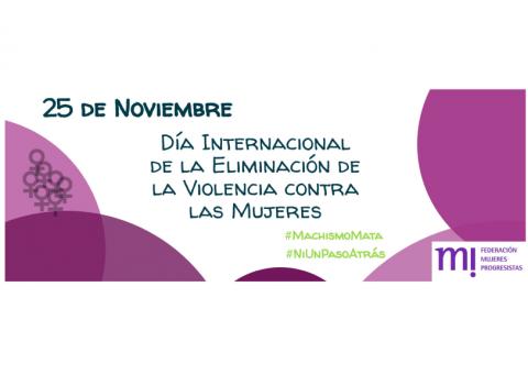 Imagen con el texto 25 noviembre, Día Internacional para la Eliminación de la Violencia contra la Mujer
