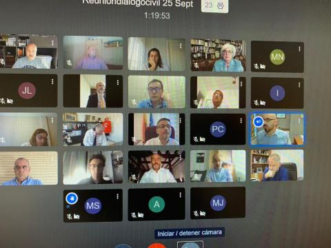 foto durante la reunión virtual