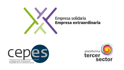 Logotipos de cepes, plataforma tercer sector y casilla empresa solidaria