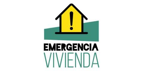 Imagen con una casa y un signo de exclamación y el texto: Emergencia vivienda