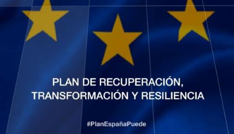 Imagen con el título del plan de recuperación, transformación y resiliencia
