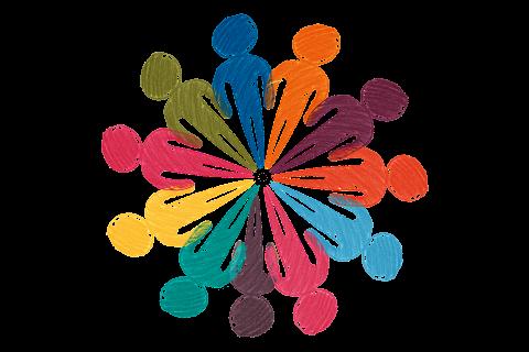 dibujo de varias personas de colores