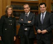 Ministra de Sanidad, Servicios Sociales e igualdad (Ana Mato), Presidente de la Plataforma (Luciano Poyato) y Secretario de Estado de Servicios Sociales e Igualdad, Juan Manuel Moreno