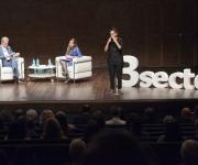 Foto durante la intervención de Sara Giménez, Ciudadanos, con el periodista José Manuel González Huesa