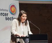 Foto de la vicepresidenta de la PTS, Asunción Montero, durante la clausura del acto