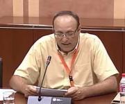 Foto de Manuel Sánchez Montero durante si intervención, presidente de la mesa del tercer sector de Andalucía