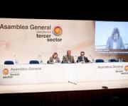 Bienvenida e inauguración de la Jornada: Luciano Poyato, Presidente de la Plataforma, Teresa Palahí, Vicepresidenta de la ONCE y Rafael de Lorenzo, Secretario General.